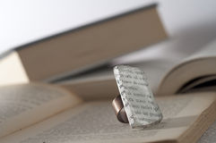 Ecojewelry literary ring from glass sea Royalty Free Stock Images