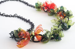 Ecojewelry necklace from recycled plastic bottles Royalty Free Stock Photography