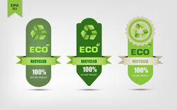 Ecológico recicle etiquetas Imagem de Stock Royalty Free
