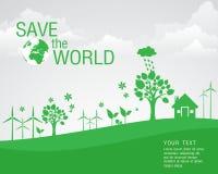 Ecológico y ahorre el verde del mundo Foto de archivo libre de regalías