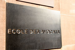 Ecole des avocats - translates from French as Lawyers school Royalty Free Stock Photo