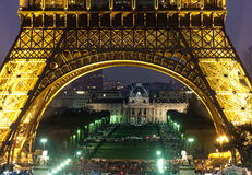 Ecole Militaire and Eiffel Tower at night Stock Image