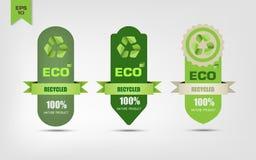 Ecológico recicle las etiquetas Imagen de archivo libre de regalías