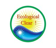Ecolocical clear sign- 21. The image is a round symbol with the inscription Ecologic Clear. Vector version uses Mesh Royalty Free Stock Image