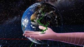 Ecología, ambiente y era digital stock de ilustración