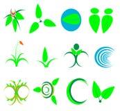 Ecología del icono del símbolo de la naturaleza, salud, verde, hojas: Hoja, planta, lo Fotos de archivo libres de regalías