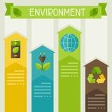 Ecología infographic con los iconos del ambiente Fotografía de archivo libre de regalías
