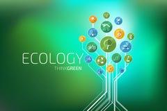 Ecología infographic Piense el verde Imágenes de archivo libres de regalías