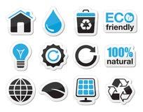 Ecología, verde, reciclando los iconos fijados Imagen de archivo libre de regalías