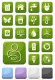 Ecología y botones verdes del ambiente fijados Imagenes de archivo