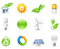 Ecología y conjunto verde del icono de la energía Foto de archivo libre de regalías