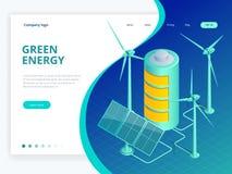 Ecologia alternativa isometrica di verde di eco, concetto sostenibile e ambientale Illustrazione verde di vettore di consapevolez illustrazione vettoriale