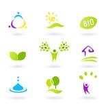 Ecologia & ícones amigáveis da natureza dos povos BIO ajustados Imagem de Stock