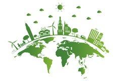 Ecologia As cidades verdes ajudam o mundo, terra com ideias eco-amigáveis do conceito Ilustração do vetor ilustração stock