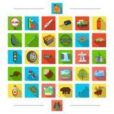 Ecologia, curso, turismo e o outro ícone da Web no estilo dos desenhos animados Ferramentas, componentes, animais, ícones na cole Imagens de Stock Royalty Free
