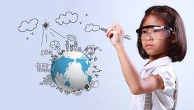 Ecologia del globo del disegno della bambina Fotografia Stock Libera da Diritti