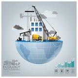 Ecologia e conservazione globali Infographic dell'ambiente Fotografia Stock Libera da Diritti