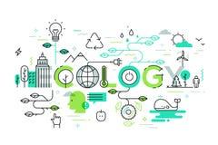 Ecologia e ilustração do conceito do ambiente, linha fina projeto liso Fotografia de Stock Royalty Free