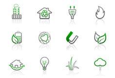 Ecologia ed icone ambientali | Serie semplice 1 Fotografie Stock Libere da Diritti