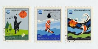 A ecologia em selos imprimiu em Hungria em 1975 Imagens de Stock Royalty Free