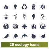 Ecologia, energia verde, ícones amigáveis dos objetos de Eco ilustração royalty free