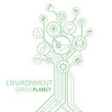 Ecologia infographic Ambiente, pianeta verde Fotografie Stock Libere da Diritti