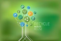 Ecologia infographic Recicle, reduza, reutilize Imagens de Stock