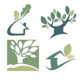 Ecologia, natura, casa e segni ed icone delle case Immagine Stock