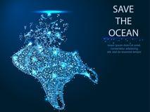 Ecologia, protezione dell'ambiente Plastica nell'oceano e nel mare Natura di risparmio dai pacchetti Poligonale astratto immagine stock libera da diritti