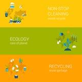 Ecologia que recicla o grupo liso do molde das bandeiras da Web da limpeza waste Fotografia de Stock Royalty Free