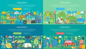 A ecologia, tecnologia verde, recicla e salvar o grupo horizontal liso horisontal das bandeiras do projeto de conceito do planeta ilustração do vetor