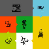 Ecologia, verde e linea icone dell'ambiente messe Fotografia Stock Libera da Diritti