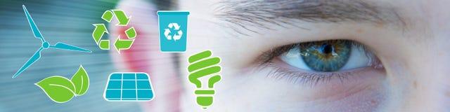 Ecologic öga av pojken med gräsplan- och blåttsymboler Royaltyfri Foto