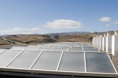 Ecologic and alternative solar panel with blue sky Royalty Free Stock Photos