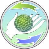 Ecologic circle emblem with a globe on palm Royalty Free Stock Image
