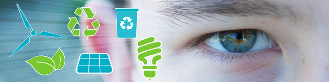 Ecologic eye of boy with green and blue icons Royalty Free Stock Photo