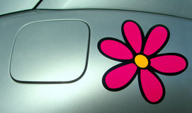 Ecologic fuel lid. With a pink flower Royalty Free Stock Photo