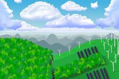 Ecologic grönt panorama- landskap för vektor Arkivfoton