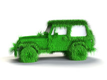 Ecologic green car. With grass texture Royalty Free Stock Photography