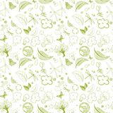 Ecologic green doodles. Seamless ecologic green doodles full vector illustrations Royalty Free Stock Image