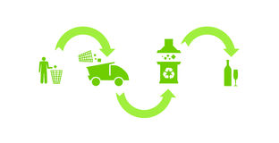 Ecologic green recycling process Stock Photo