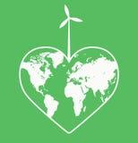 Ecologic hjärta - ekologisk hjärta - Eco hjärta - spara planetlogoen Royaltyfria Bilder