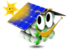 Ecologic house. Ecological home smiling with photovoltaic panels and sun with a smile Stock Image