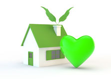 Ecologic house and  heart Stock Image