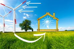 Ecologic House - Wind Energy Concept. Wooden yellow meter tool forming a ecologic house with wind energy turbine power station royalty free illustration
