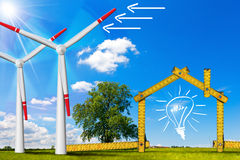 Ecologic House - Wind Energy Concept Royalty Free Stock Image