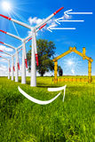 Ecologic House - Wind Energy Concept Royalty Free Stock Photography