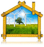 Ecologic House - Wind Energy Concept Royalty Free Stock Images