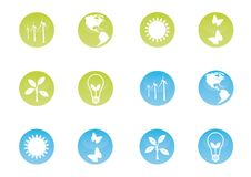 Ecologic Icon Set. Ecological icons on shiny buttons Stock Images