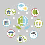 Ecologic infographic elements for web and print. Illustrated infographics on ecology on earth, different icons in a flat style Royalty Free Stock Image